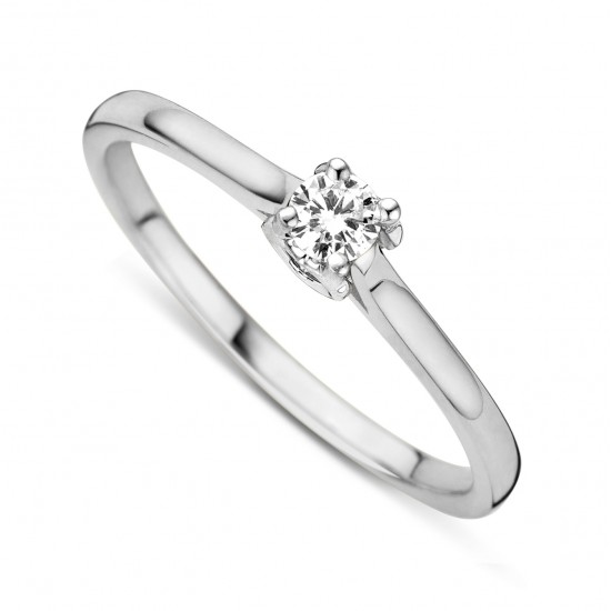 DULCI NEA - 18 kt witgouden solitair ring met briljant 0.19ct - 602338