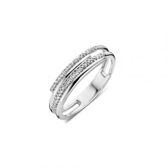 DULCI NEA - 18 kt witgouden ring met diamant (0.12ct.) - 602364